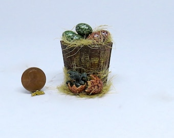 Collector Miniature 1:12 Basket of DRAGON EGGS one Hatched, Witch, Wizard, Harry Potter, OOAK