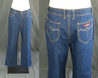 vintage 80s Jordache Jeans - 1980s High Waist Dark Denim Jeans Bootcut Jeans Sz 32 x 30
