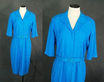 vintage 50s Wiggle Dress - 1950s Blue Linen Button Front Day Dress Sz L