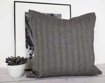 Grey Herringbone Cushion Covers, Gray Wool Pillow, Black Grey Textured Pillows, Ski Lodge Decor, Masculine Accent Pillows,  20, 22, NEW