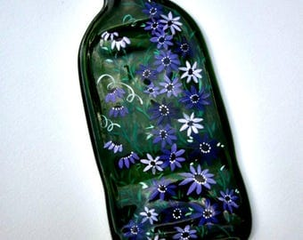 Melted Wine Bottle, Serving Tray, Cheese Tray,  Spoon Rest, Kitchen Trivet,  Green Wine Bottle Hand Painted with Shades of Purple Flowers,