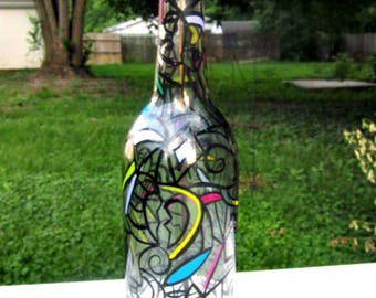 Incense Burner, Smoking Bottle, Recycled Clear Bottle, Incense Holder, Hand Painted, Abstract Art, Glass Art
