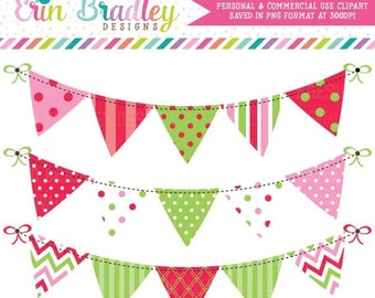 80% OFF SALE Christmas Bunting Banner Flag Clipart Commercial Use Clip Art Graphics Instant Download