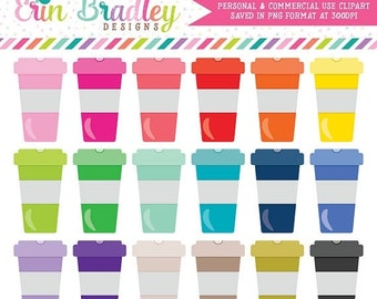 80% OFF SALE Colorful Coffee Cups Clipart Graphics in 18 Colors Personal & Commercial Use Coffee Clip Art