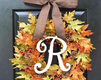 Fall Berries and Leaves Wreath, Fall Wreath, Fall Decor Monogram Wreath with Pinecones, Autumn Fall Decor, Fall Colors READY TO SHIP 22 inch