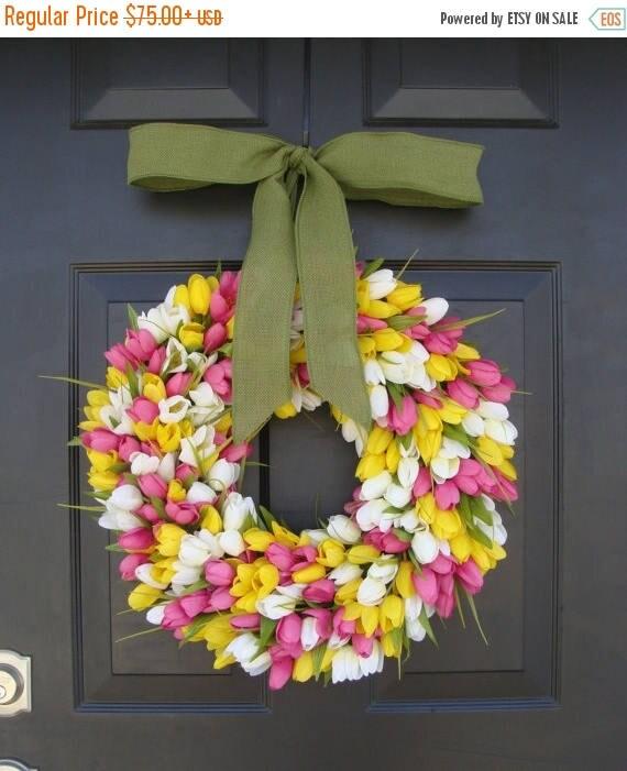 SUMMER WREATH SALE Spring Decor- Spring Wreath- Tulip Wreath- Wreath for Door- Door Wreath- Etsy Wreath Custom Sizes