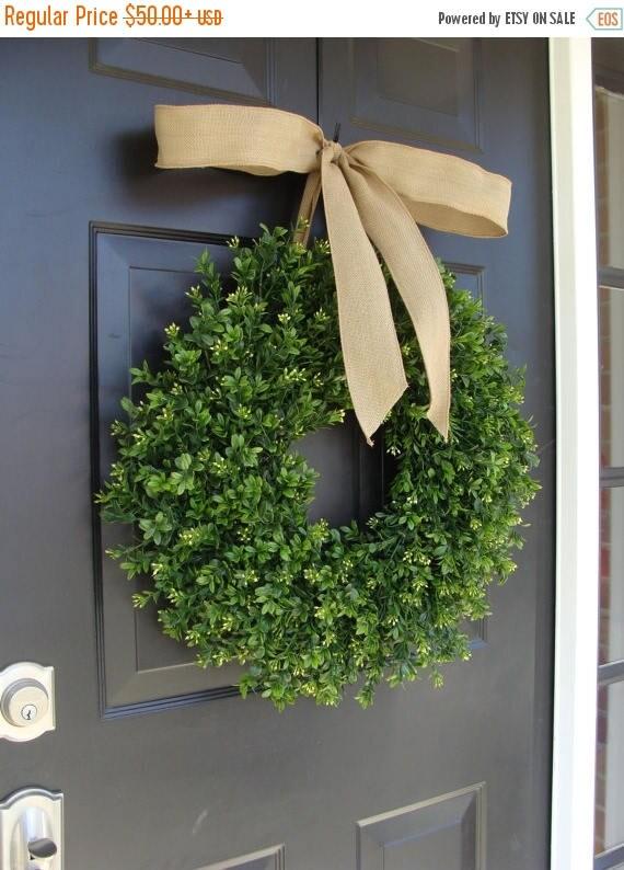 SUMMER WREATH SALE Thin Boxwood Wreath- Spring Wreath- Year Round Wreath- Door Wreath- Wreath for Storm Door- Wreath for Storm Door, Outdoor