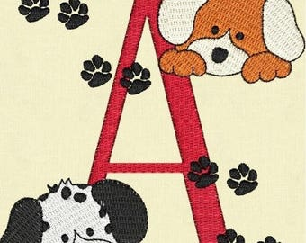 SALE 65% OFF Puppy Dogs Monogram Fonts Machine Embroidery Designs Set Instant Download Sale