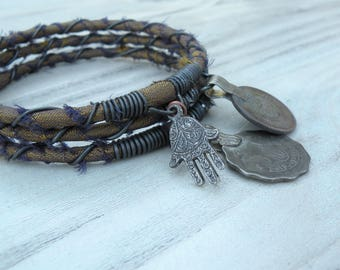 Silk Road 3 Piece Bangle Stack, Silk Wrapped, Stacking Bracelets, Tribal Gypsy Jewelry, Bronze