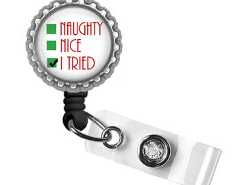Santa List, Badge Reel, ID Tag, Badge Holder, Holiday Gifts, Gifts for Nurses, Gifts for Student Nurses, Gifts for Teachers