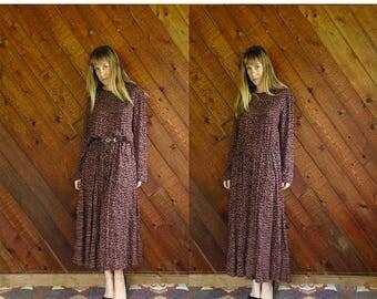 20% off SUMMER SALE. . . Cheetah Printed l/s Woven Maxi Dress - Vintage 80s - L