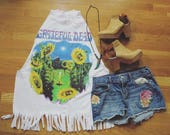 Grateful Dead Terrapin Station Turtle Sunflower Fringe Tank Top Tee Top Shirt Womens Clothing One Size