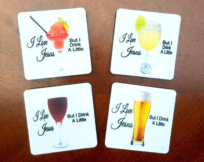 I love Jesus but I drink a little coasters set of 4 girls weekend bunko book club girlfriend bff OuterBanks wedding BeachHouseDreamsHome OBX