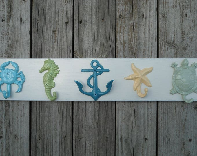 Nautical Beach decor towel rack bathroom towel hooks outdoor shower lake house beach home lake cottage UNmounted wall hooks