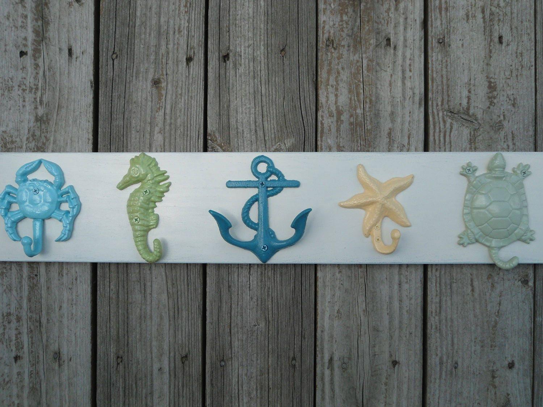 Nautical Beach Decor Towel Rack Bathroom Towel Hooks