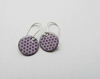 Small Pink Earrings with Gray Polka Dots - Small Pink Dangle Earrings - Lightweight Dangle Earrings