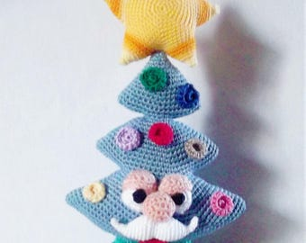 Bonnie's Crochet Cotton Thread Mr. Stache Christmas Tree Doll  Applique Of Colorful Ornament Shapes, Topped With A Yellow Star/Not a Toy