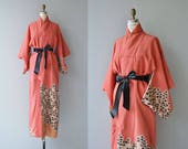 Torerisu silk kimono | vintage 1950s kimono | floral silk 50s japanese kimono