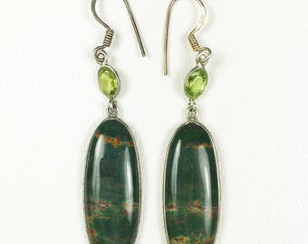 Bloodstone Beautiful Elongated Oval-Shaped Sterling Earrings Adorned with Faceted Peridot Ovals