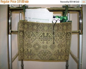 ON SALE Walker Bag Tote Aztec Style Brown Tan Green Tapestry
