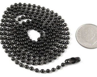 """Tierracast Stainless Steel Ball Chain Necklace 2.4mm-BLACK 30"""""""