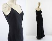 Vintage 90's Zum Zum By Niki Livas Elegant Sheer Spaghetti Strap Low Back Long Bias Cut Woman's Formal LBD Black Dress