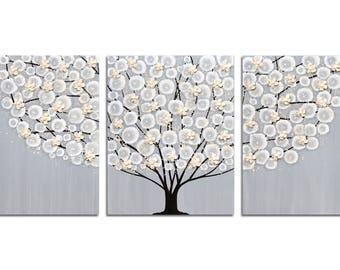 Original Painting on Canvas - Flowering Tree Artwork in Gray and Brown - Large 50X20