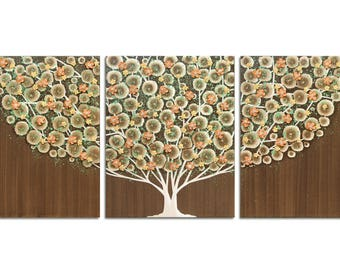 Painting of Tree in Brown and Autumn Orange on 3 Wall Art Canvases - Large 50x20
