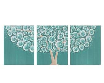 ON SALE Teal Wall Art Decor - Tree Acrylic Painting on Triptych Canvas - Medium 35x14