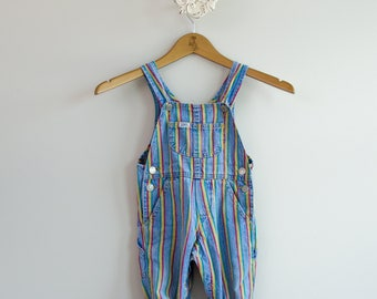 Kid's 1980s Lee Denim Striped Overalls • Size 24mo
