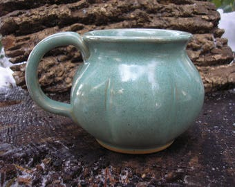 Gourd  Mug 16oz.,   glaze mug / tea mug/ coffee mug / sensuous feel, handmade pottery plus two custom leaf mugs