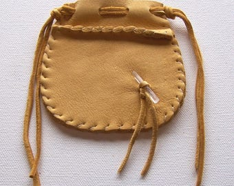 Beautiful Deerskin Leather Medicine Bag .. Seamed...GOLD