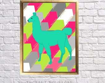 Llama Printable Art, Childrens Nursery Art, Bright Pink Green Teal, Print at home decor, Instant downloads, Baby Nursery, Arrow Printable