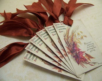 Thanksgiving Tags Thanksgiving Favors Autumn Leaves and Wheat Vintage Style - Set of 6 or 9