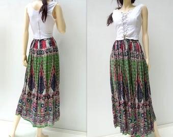 70s Boho Skirt India Cotton Skirt Boho Skirt India Gauze Skirt Boho Midi Skirts Boho Hippie Skirt 70s Festival Skirt Vintage 1970s one size