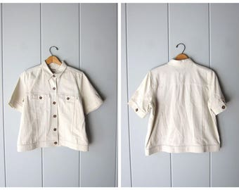 Natural Linen Blouse Cropped Minimal Top Button Up Short Sleeve BOXY Tee Beige 90s Modern Safari Basic Spring Top Vintage Womens Medium