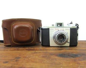 vintage Kodak Pony 828 Camera with Leather Case for display Prop Mod Retro Book Shelf Decor Photography Photo Pictures