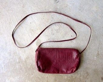 vintage 80s mini purse dark red leather tiny purse cross body purse bag small leather coin purse across body bag vintage 1980s womens