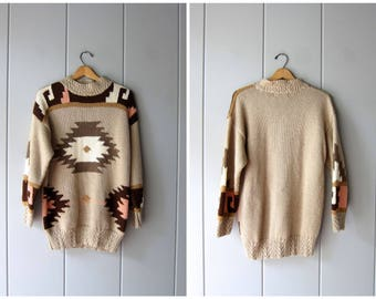 Vintage 90s Southwestern Sweater Tribal Aztec Pattern Sweater Long Knit Tunic Sweater Navajo Beige Brown Ethnic Boho Sweater Small Medium