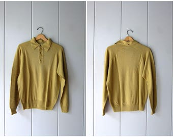 Vintage 50s Wool Henely Sweater Mustard Green Thin Wool Pullover Knit Collared Sweater Preppy Minimal Modern Sweater Womens Large