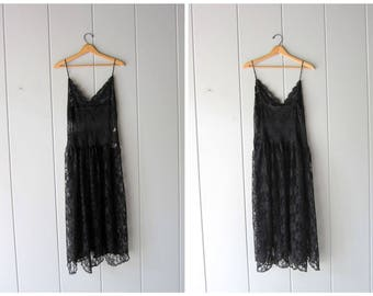 Sexy 80s 90s Black Lace Slip Victorias Secret Long Sheer Black Slip Pin Up Lingerie Negligee Slip Dress Nightgown Glamour Gown Womens Large