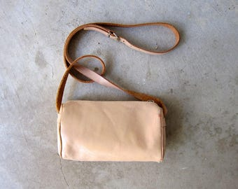 vintage 80s mini purse Natural Buff leather Tiny Purse cross body purse bag small leather coin purse across body bag vintage 1980s womens