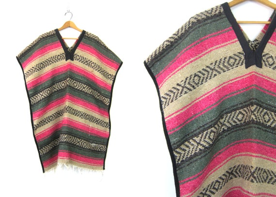 1970's Bohemian PONCHO Loomed saddle blanket Pullover with Fringe Woven Mexican Boho Hippie Jacket Pink Black Weave OSFM