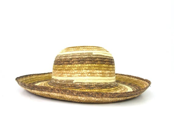 Vintage Brim Straw Hat Gardener Farm Straw Hat Woven Boho Summer Hat Natural Straw Hat Womens Medium