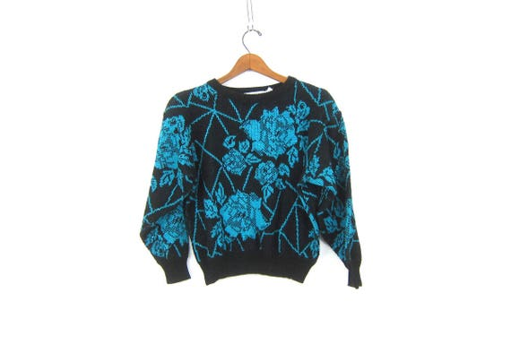 Retro Knit Glitter Sweater Vintage Black and Blue Sweater Knit Top Hipster Floral Pattern Shirt cropped Sweater Womens Size Medium Large