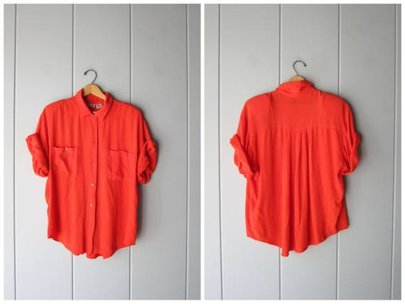 Oversized Rayon Shirt Red Button Up Shirt Minimal Tshirt 80s 90s Baggy Shirt Slouchy Simple Basic Top Plain Shirt Womens Large XL