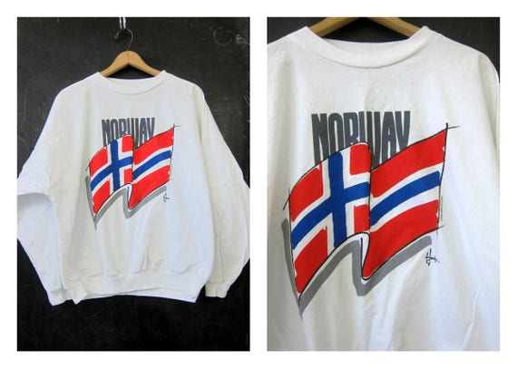 Vintage Flag Tee Long Sleeve NORWAY Tshirt 80s Red Blue and White International Colors Long Sleeve Shirt Baggy Oversized Top One Size OSFM