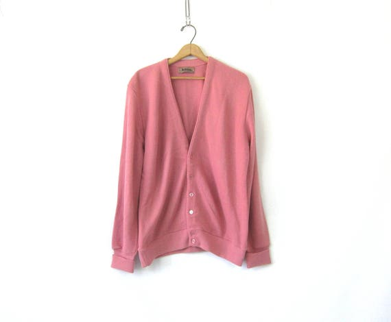 Pink Button Down Sweater Boyfriend Cardigan Grandpa Sweater Basic Grunge Plain Simple Knit Vintage Mens size Large