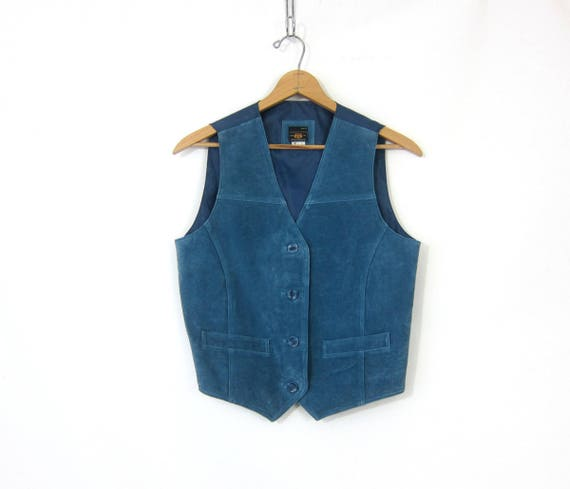 Suede leather vest Blue Button Down Boho Chic Biker vest Casual Sleeveless Vest Jacket Tank Women's Size Medium