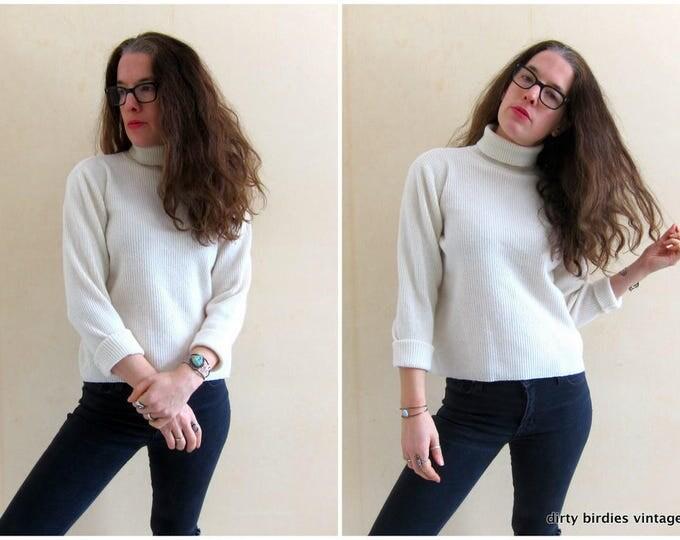 White Wool Rib Sweater | Vintage 90s Boxy Ribbed Top | Minimal White Sweater Womens Large